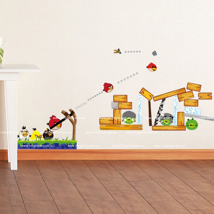 Feature angary bird kids removable wall sticker decal for for Angry birds wall mural