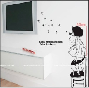 LITTLE GIRL BLOWING DANDELION Kids Removable Wall Sticker, & Quote