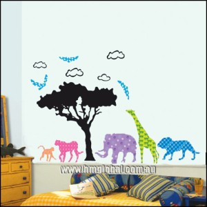 CUTE AFRICA ANIMALS Kids Wall sticker for Kids room or Nursery