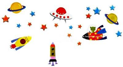 SPACE SHIP & STARS, PLANETS Kids Wall sticker for Kids room & Nursery