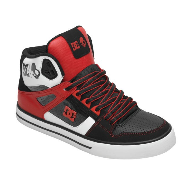 dc shoes high tops red and black. dc-spartan-hi-wc-sk-skullcandy-skate-shoes- dc shoes high tops red and black