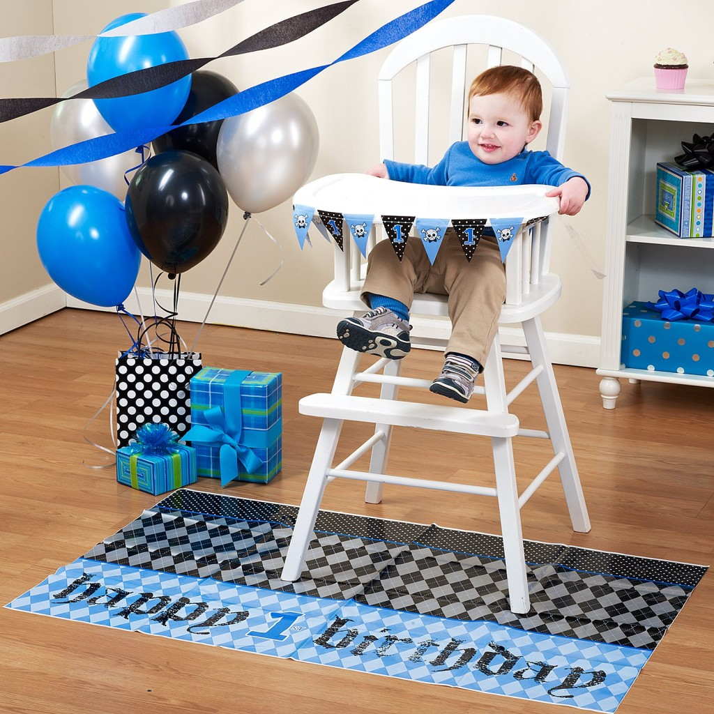 Boys 1st Birthday Lil Rebel High Chair Decor Kit & Bib