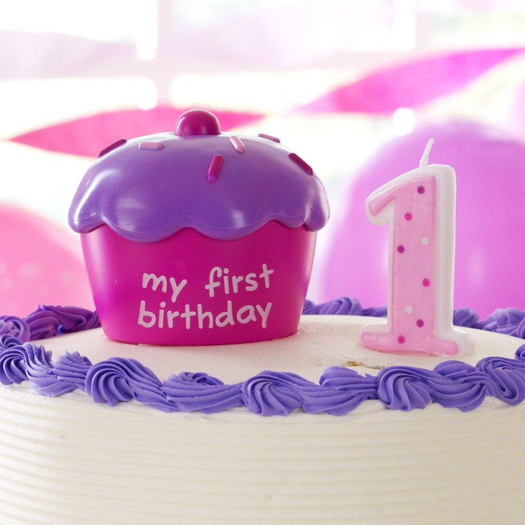 Girls First 1st Birthday Pink Cake Cupcake Topper with ...