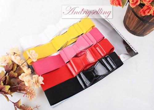 Womens Girl Lady Fashion Casual Bowknot Elastic Stretch Waist belt 5