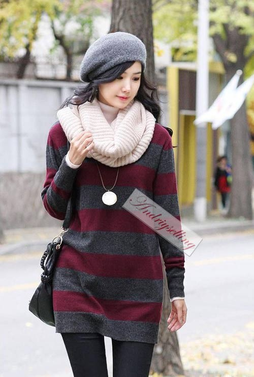 Women Girls Lady Fashion Warm Knitting Wool Double Circles Long Scarf Shawl Wrap