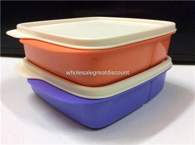 2 new tupperware lolly tup orange bluish purple lunch box square bento set ebay. Black Bedroom Furniture Sets. Home Design Ideas
