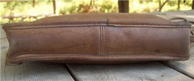 HTF vintage COACH distressed tan leather WRISTLET clutch Purse bag