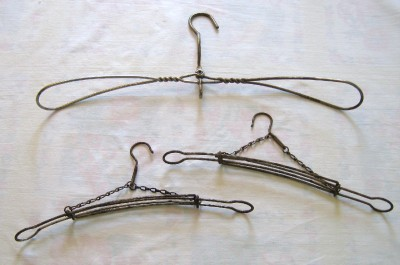 Lot of 3 antique wire clothes hangers vintage primitive - Unusual uses for wire coat hangers ...