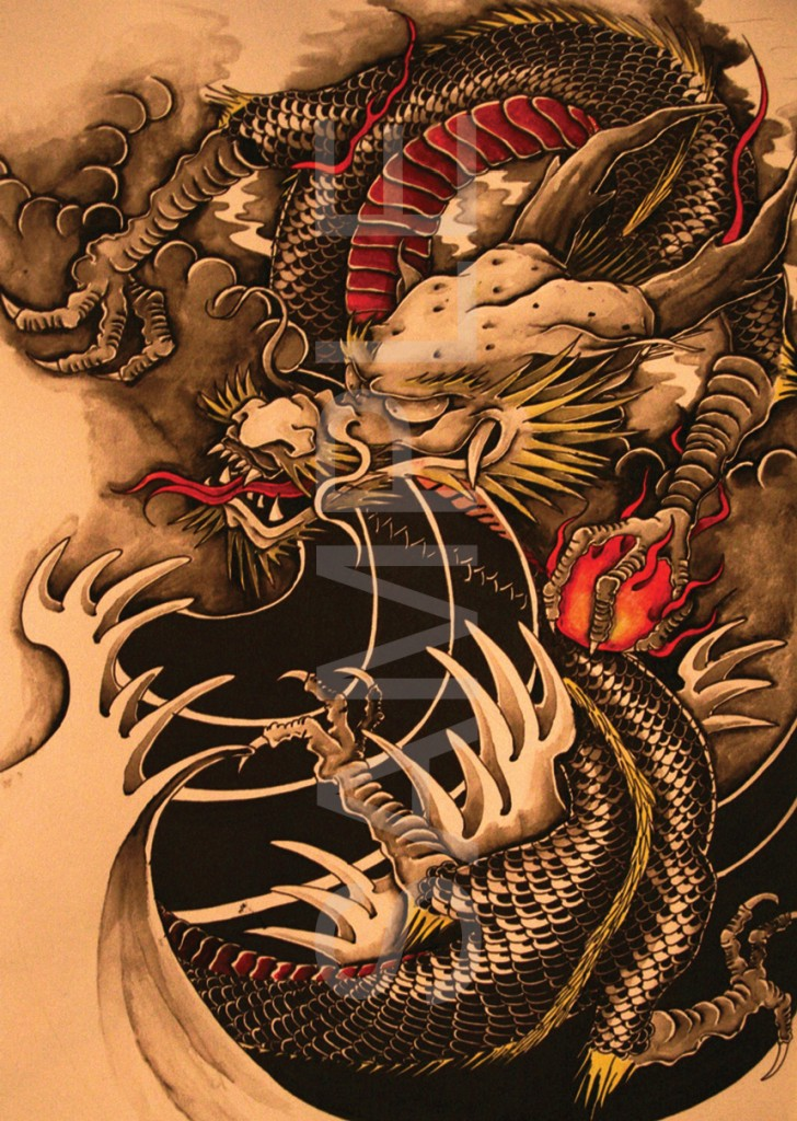 chinese dragon tattoo a3 poster print hal634 ebay. Black Bedroom Furniture Sets. Home Design Ideas