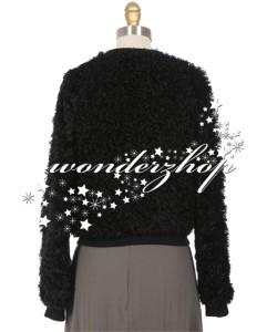 New Womens LAgence Black Faux Fur Slightly Cropped Bomber Jacket