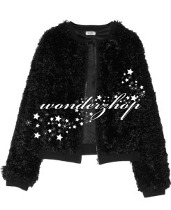 New Womens LAgence Black Faux Fur Slightly Cropped Bomber Jacket