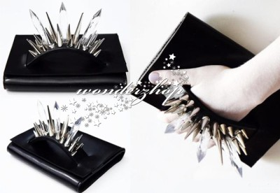 Blk Punk Faux Leather Metal Silver Spike Studded Hardware Clutch Bag