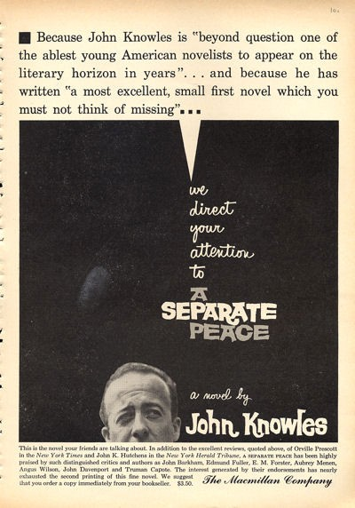 a summary of a separate peace by john knowles book A separate peace is a coming-of-age novel by john knowles based on his earlier short story, phineas, it was knowles' first published novel and became his best.