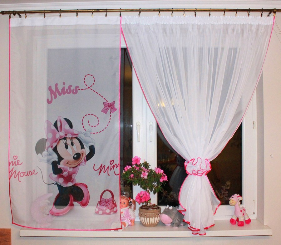 New Kids Girls Disney Minnie Mouse Window Panels Curtains Tiebacks