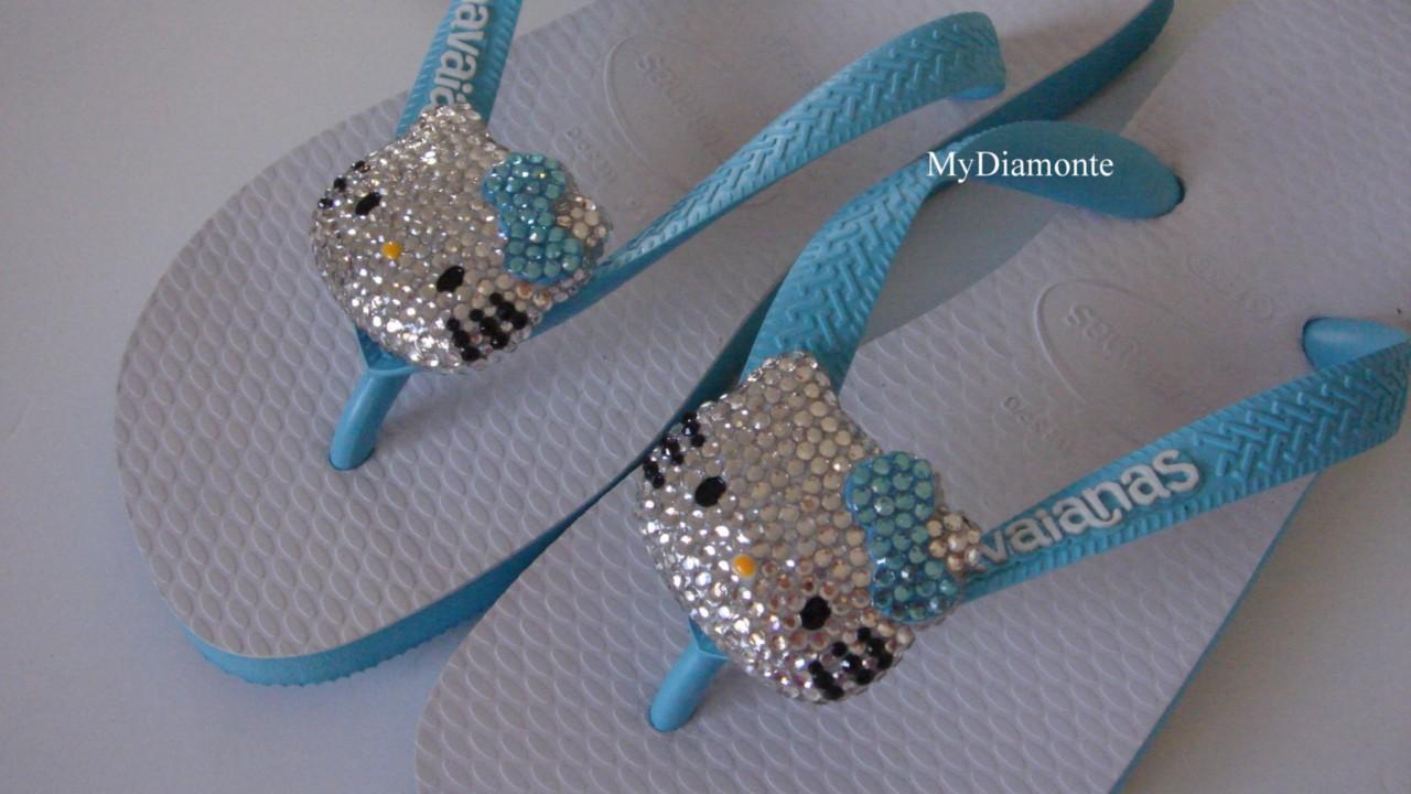 Turquoise-Havaianas-Thongs-With-Swarovski-Hello-Kitty-HK6
