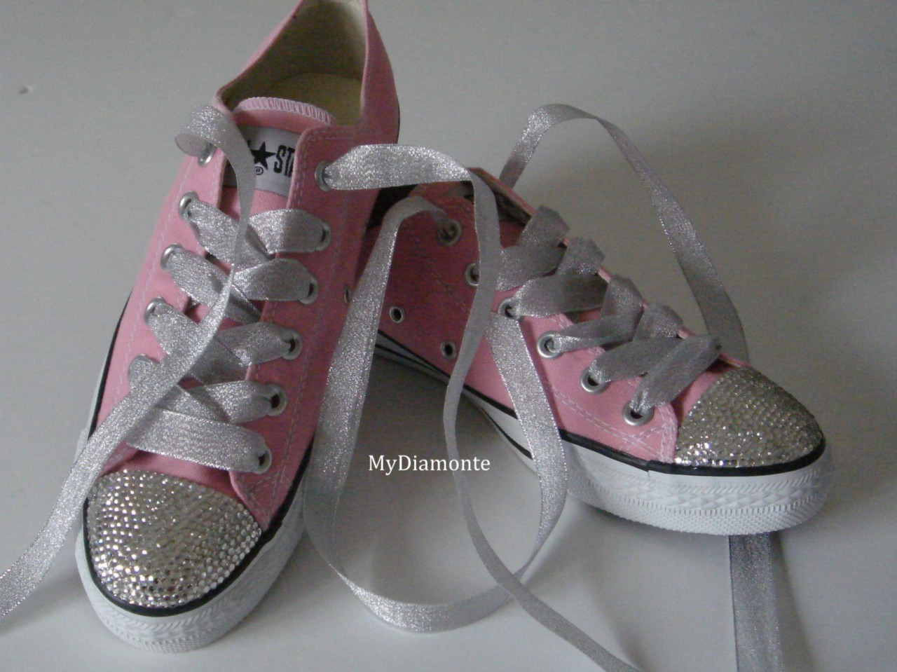Light-Pink-Converse-Featuring-Clear-Swarovski-Crystals-Toddler-Kids-Women-CO028