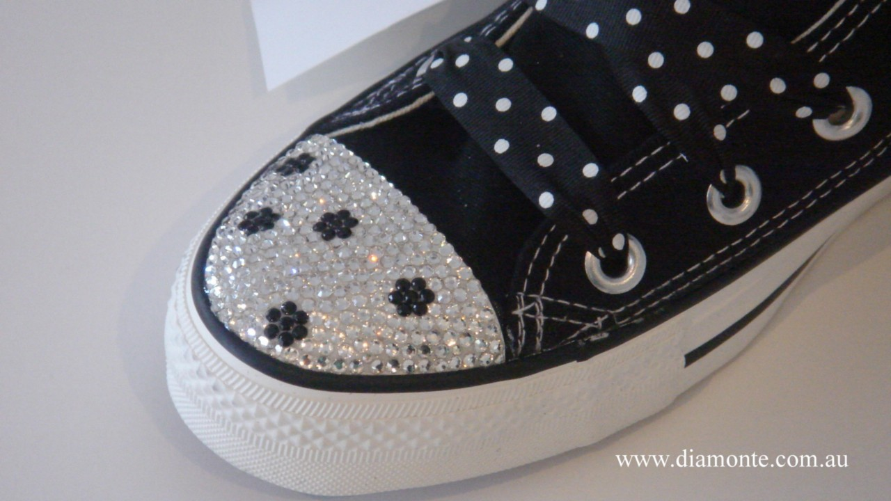 Black-Converse-Featuring-Clear-Swarovski-Crystals-Toddler-Kids-Women-CO018