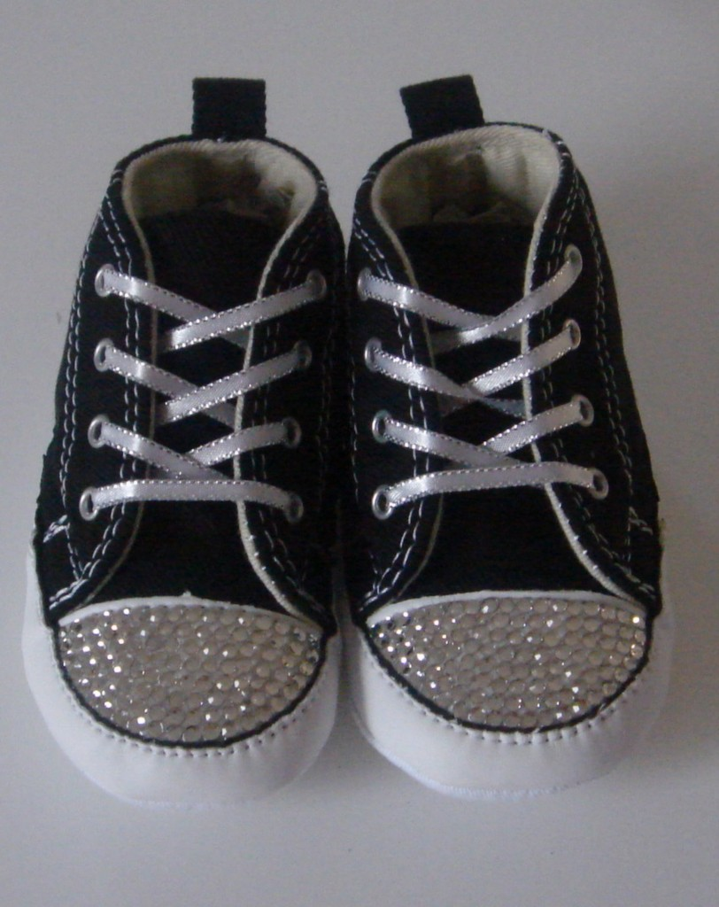 Black-Baby-Converse-Featuring-Clear-Swarovski-Crystals-Toddler-kids-adult-CO022