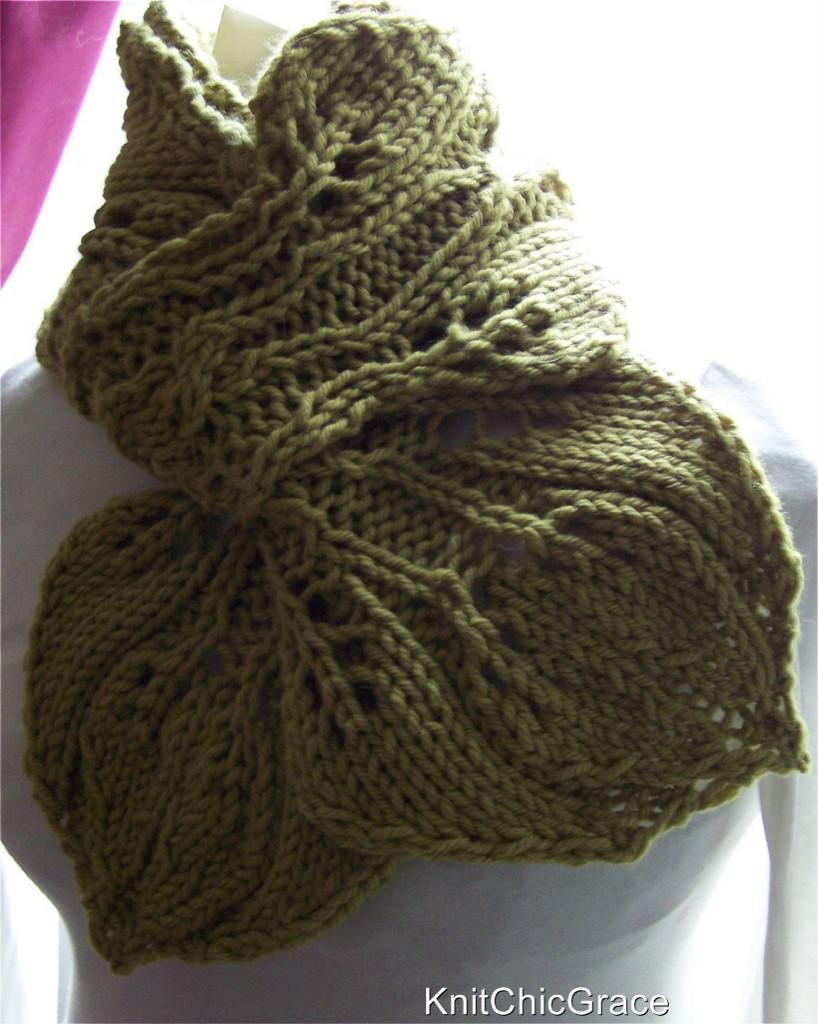 Knitting Pattern Twisted Scarf : Twisted Leaves Scarf Knitting Pattern Collection