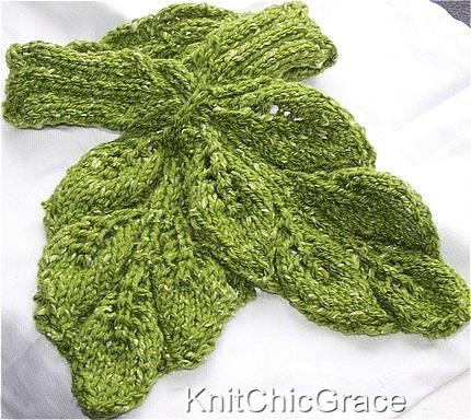 Knitting Pattern For A Small Leaf : Twisted Leaves Scarf Knitting Pattern Collection