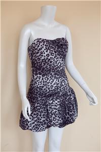 Animal Print Bubble Dress/Brown, Black, Purple