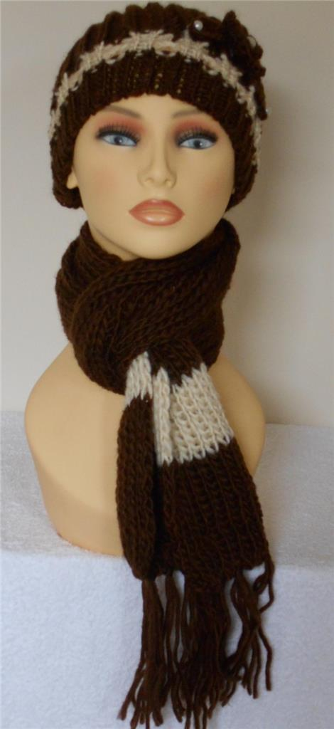 womens chunky hat and scarf set with flower in beige black pink or red