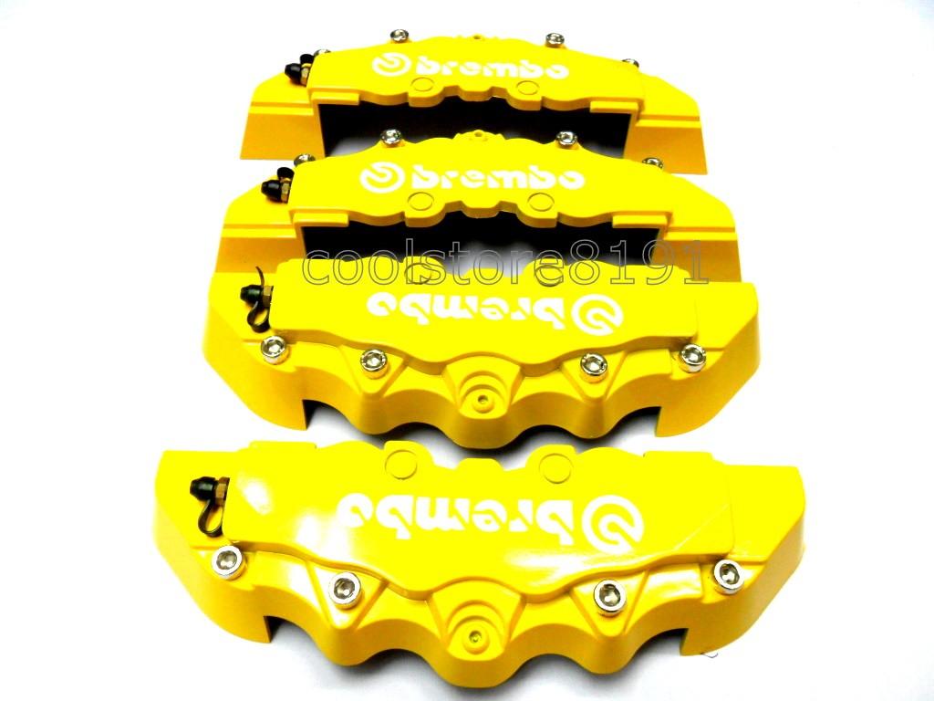 Plastic Measuring Caliper Covers : New yellow brembo look brake caliper cover f r pcs ebay