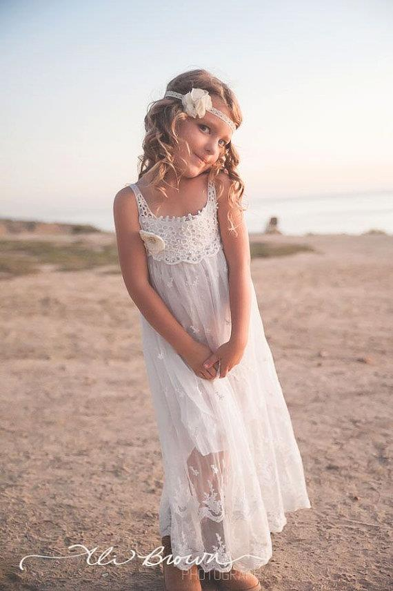 Vintage little girls white dress agree