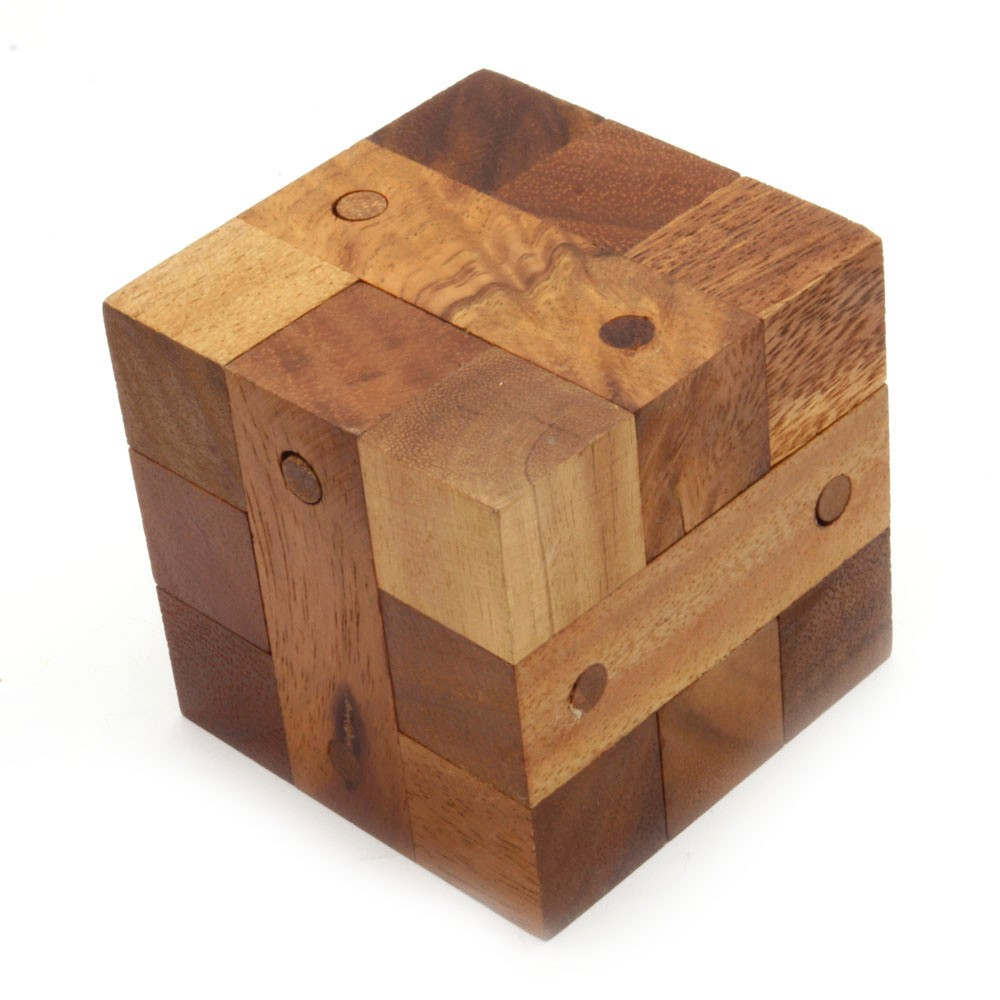 Locking Cube Puzzle Assembly 3D jigsaw puzzle wooden game ...