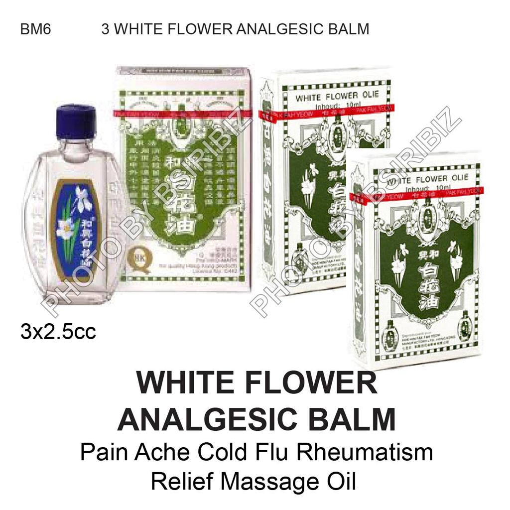 WHITE FLOWER OIL BALM ANALGESIC Pain Ache Cold Flu Rheumatism Relief Massage