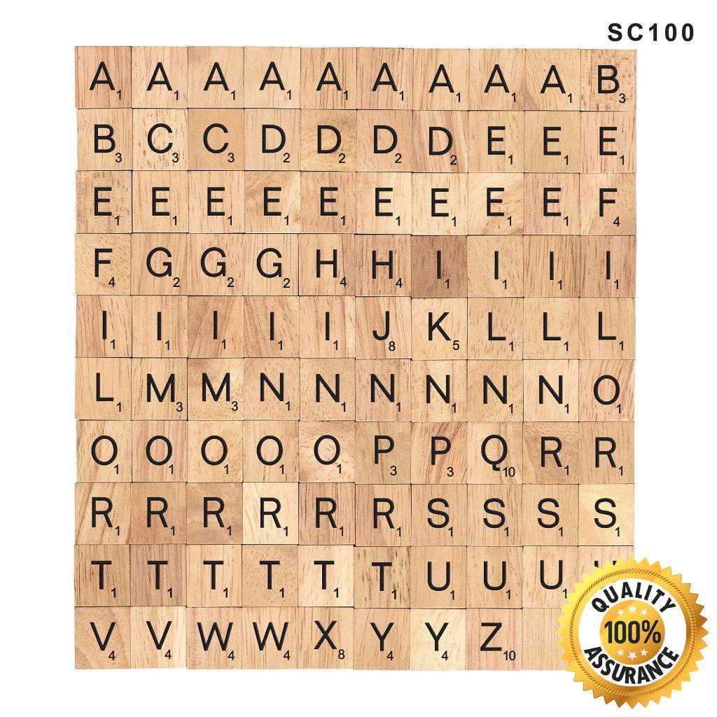 100 Scrabble Tiles NEW Wood Scrabble Letters Pendants Crafts Spelling ...