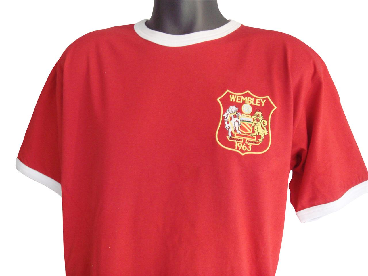 retro manchester united 1963 football t shirt new sizes s xxl embroidered logo ebay. Black Bedroom Furniture Sets. Home Design Ideas