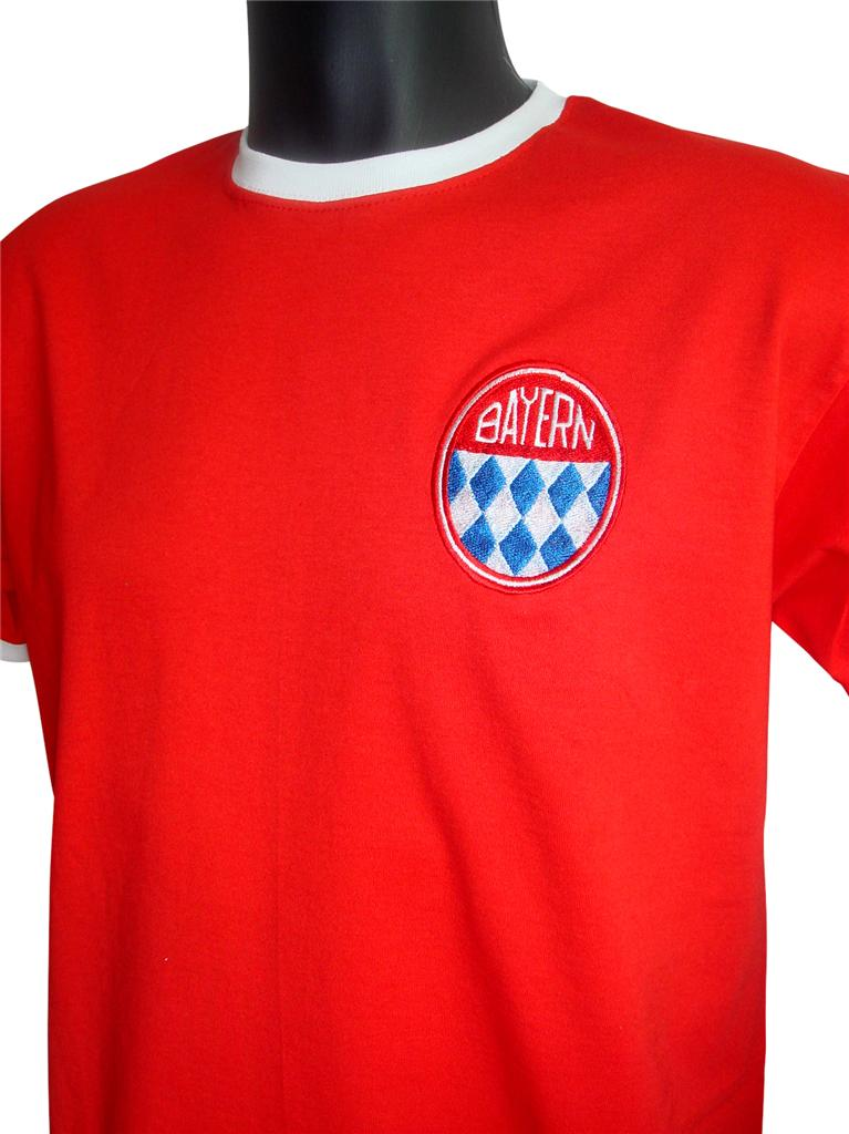 retro bayern munich football t shirt new sizes s xxl. Black Bedroom Furniture Sets. Home Design Ideas