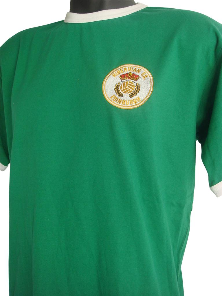 Retro-Hibernian-1980s-Football-T-Shirt-New-Sizes-S-XXL-Embroidered-Logo