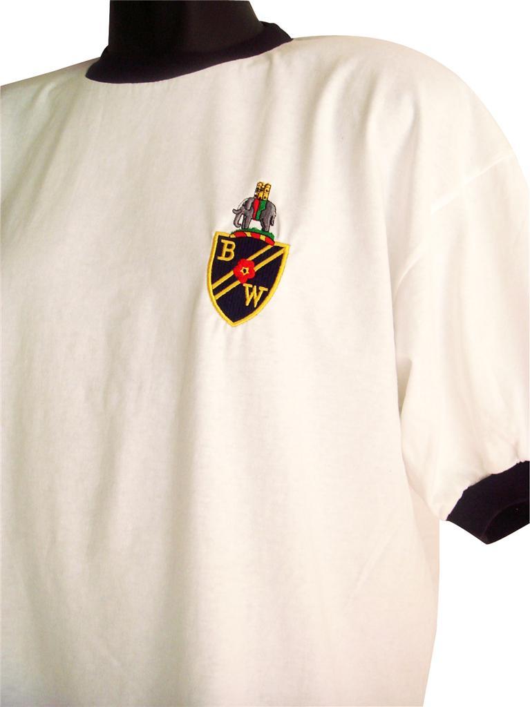 Retro-1950-60s-Bolton-Wanderers-Football-T-Shirt-Navy-Trim-New-Sizes-S-XXL