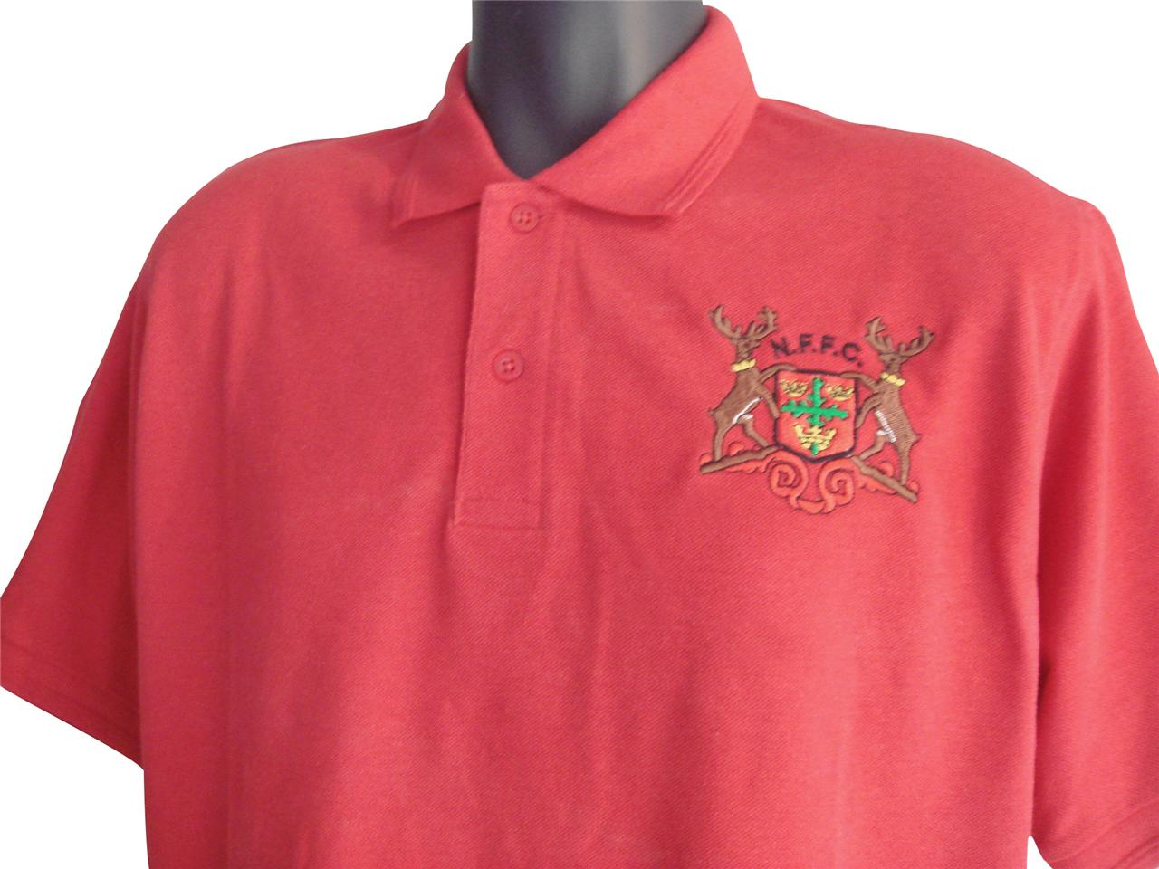 Retro-Nottingham-Forest-Red-Football-Polo-New-Sizes-S-XXXL-Embroidered-Logo