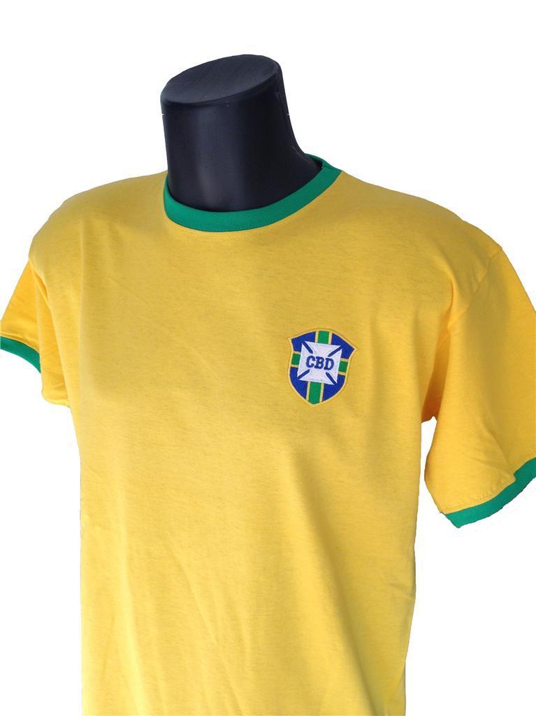 Retro-Brazil-Football-T-Shirt-New-Sizes-S-XXL-Embroidered-Logo