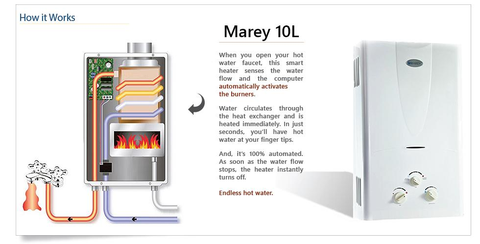 electric tankless hot water heater marey 6 5 gpm on demand 4