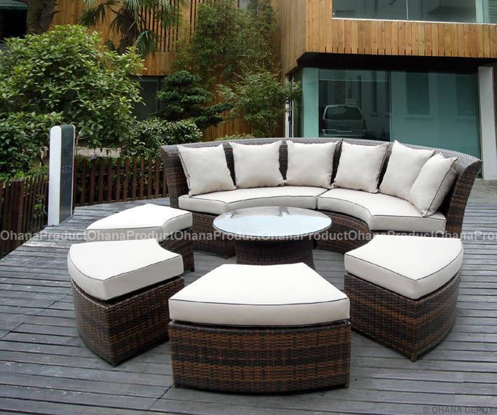 Outdoor patio wicker furniture 7pc round couch set ebay for Outdoor patio couch set