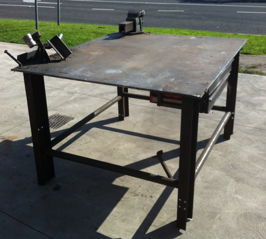 Metal Work Bench With Dawn Vice 12mm Thick Top Welding Steel Workbench Table Ebay
