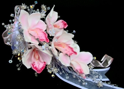 Real Touch Wedding Flowers on Swarovski Crystal   Real Touch Orchids Wedding Bouquet   Ebay
