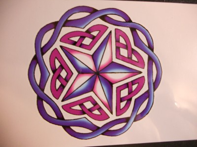 "CELTIC STAR NEW AGE DESIGN. Temporary Tattoo. GIANT Size = 4"" x 4""."