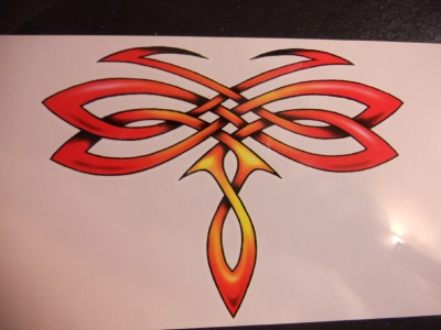 "Temporary Tattoo. Large Size = 3.75"" x 2.5"""