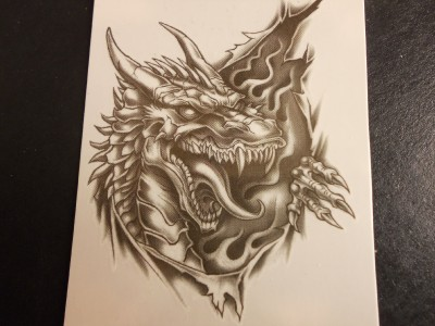 Tattos on Horned Dragon Ripping Black Ink Temporary Tattoo 21072 Auctions   Buy