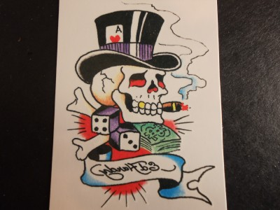 Gambler Skull With 10 Gallon Hat Temporary Tattoo 27024 Ebay