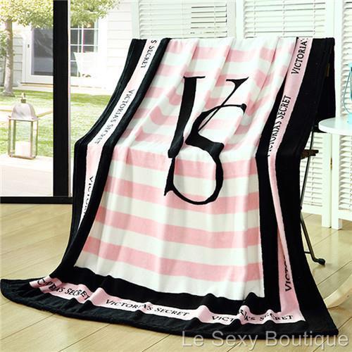 Pink Striped Vs Victorias Secret Blanket Manta Fleece