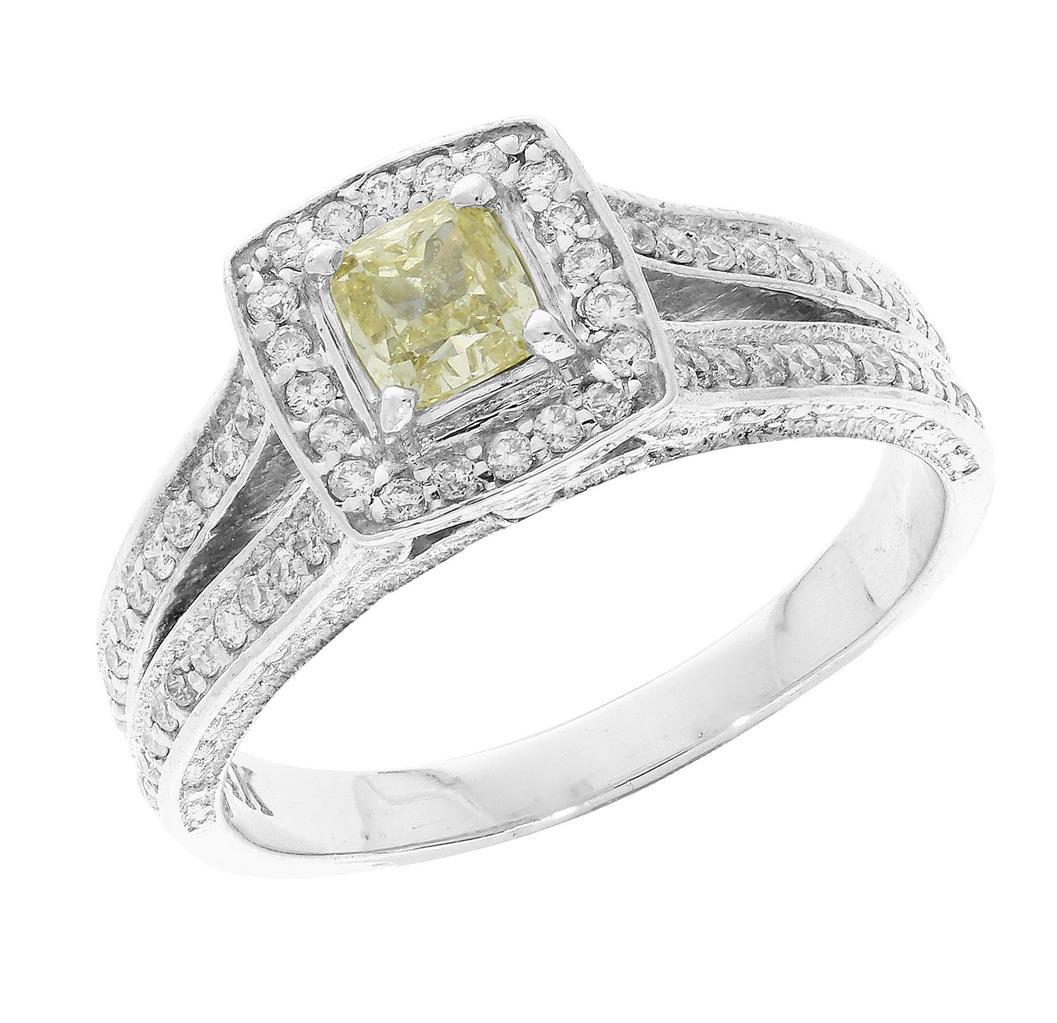 vvs1 100ct cushion amp round cut diamond 14k gold solitaire