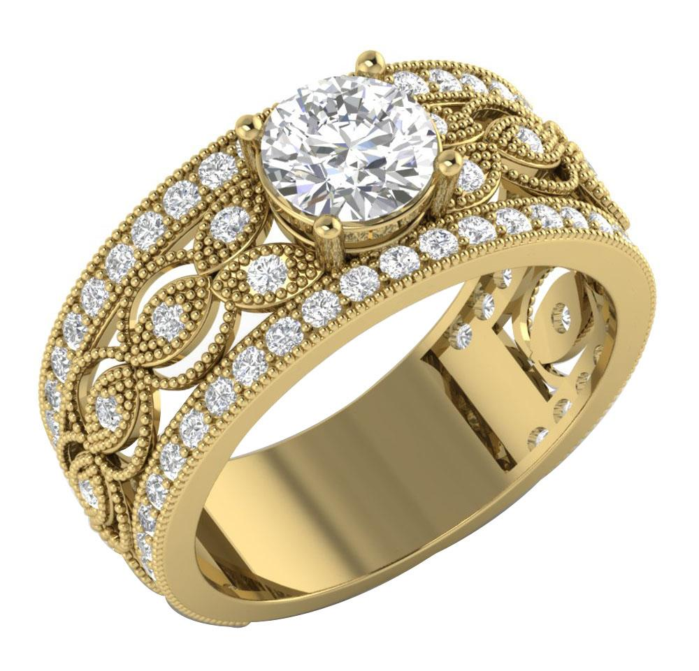 i1 g antique real 2 60tcw 14kt gold solitaire
