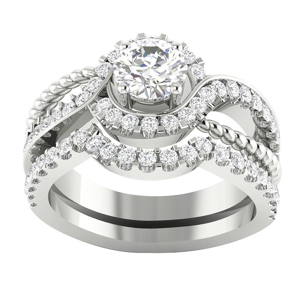14K White Gold SI1 G 1 75TCW Real Diamond Unique Bridal Ring Engagement Set B