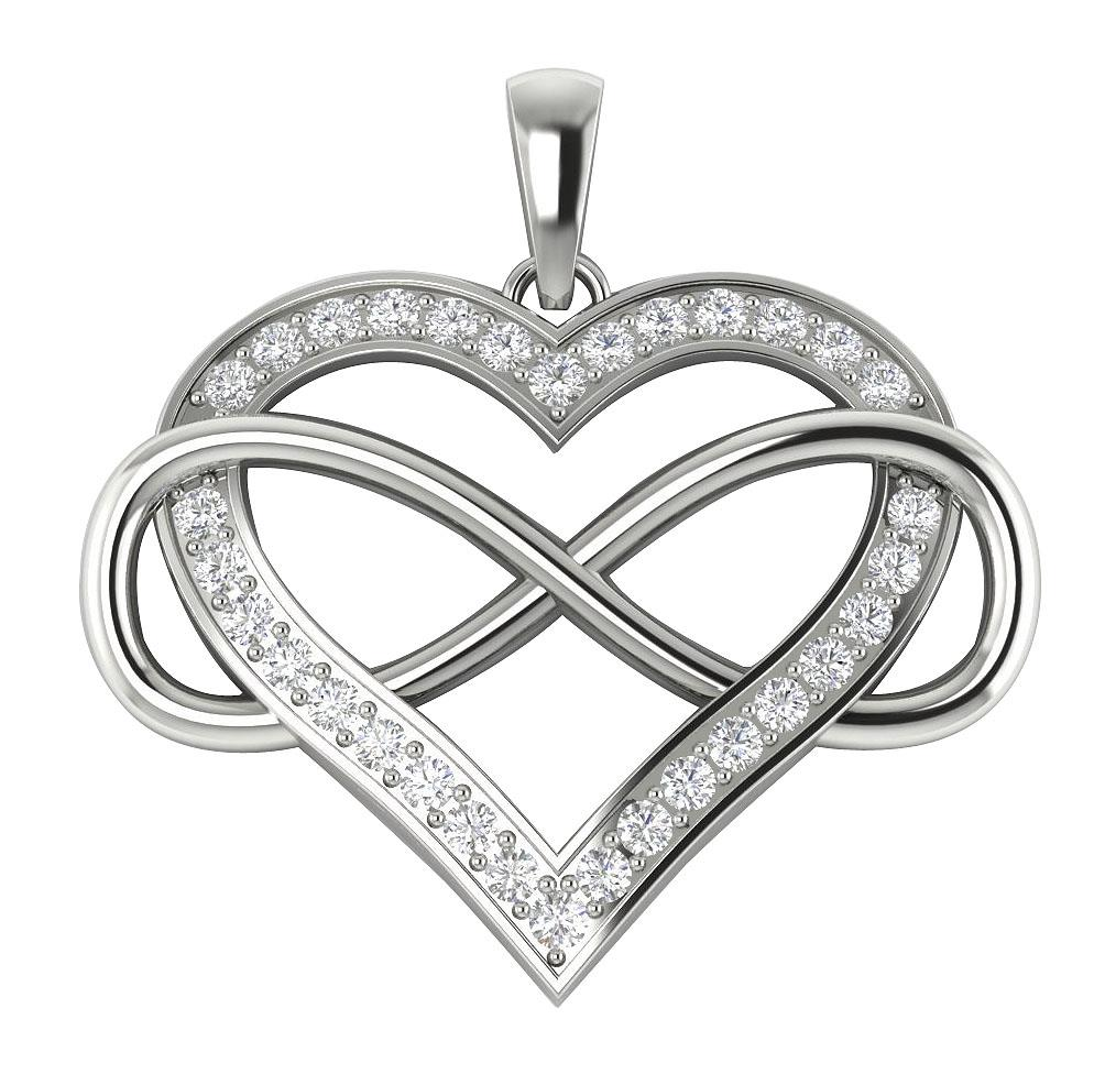 round diamond infinity heart pendant necklace. Black Bedroom Furniture Sets. Home Design Ideas